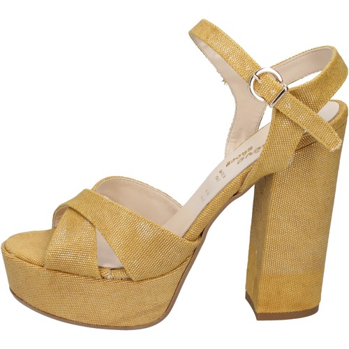 Geneve Shoes scarpe donna sandali giallo tessuto BZ892 Giallo - Scarpe Sandali Donna 45,00