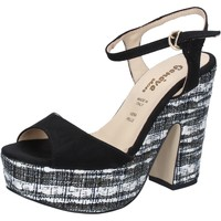 Scarpe Donna Sandali Geneve Shoes sandali nero camoscio BZ893 Nero