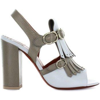 Scarpe Donna Sandali Santoni Scarpe da Donna Sandalo Tacco Frangia Bicolore  Primavera Estate Beige