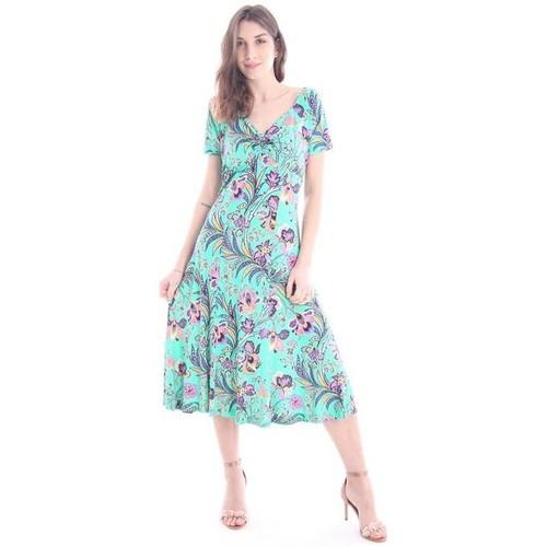 Etro ABITO VERDE STAMPA FLOREALE Green - Abbigliamento Abiti lunghi ... 802c0e44def