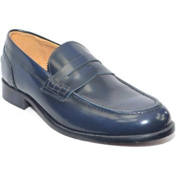 Scarpe Uomo Mocassini Made In Italia Scarpe uomo mocassino classico blu abrasivato fondo cuoio antis BLU