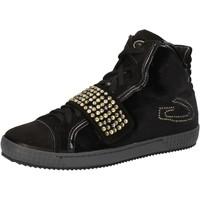 Scarpe Donna Sneakers alte Guardiani sneakers nero velluto camoscio strass AE827 Nero