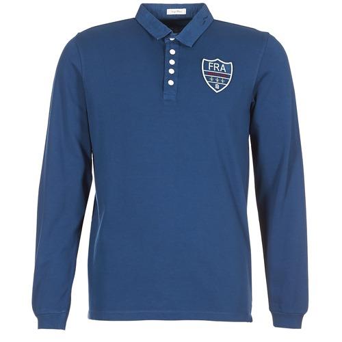 France Abbigliamento Polo Gratuita Lunghe Blu Consegna Blanco Uomo Maniche Serge 5950 vnmw08NO