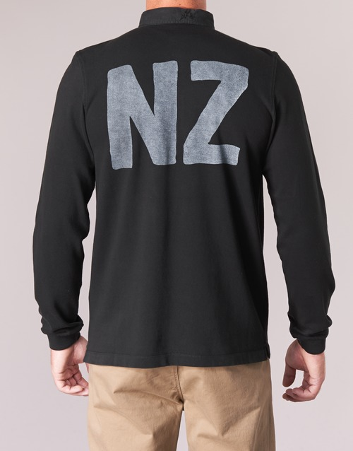 Nero Zealand Consegna Blanco Lunghe 5950 Uomo Serge Polo New Abbigliamento Maniche Gratuita EWDH9I2