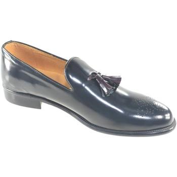 Scarpe Uomo Mocassini Malu Shoes Scarpe uomo francesina nera pelle lucida nappe bordeaux fondo c NERO