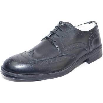 Scarpe Uomo Derby Made In Italia scarpe uomo stringate crust nero vera pelle moda classico sport NERO