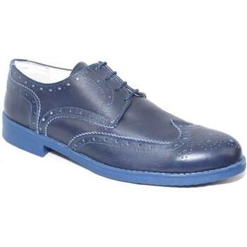 Scarpe Uomo Derby Made In Italia Scarpe uomo stringate vera pelle blu lavorata fondo antiscivolo BLU