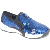 Scarpe Donna Mocassini Malu Shoes Sneakers bassa in paillettes argento/blu rivoltabili con fondo p BLU