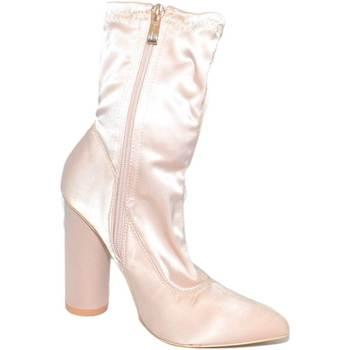 Scarpe Donna Stivali Malu Shoes Tronchetti donna raso elasticizzato champagne effetto calzino c ROSA