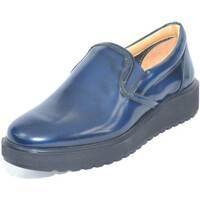 Scarpe Donna Mocassini Made In Italy Mocassino donna in pelle abrasivata blu con fondo alto ziglinato BLU