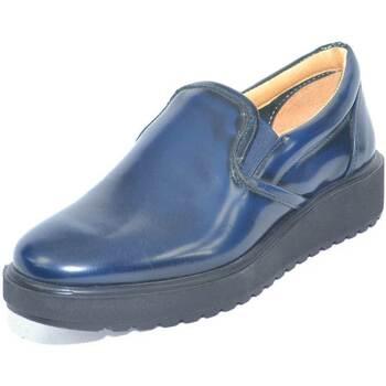 Scarpe Donna Mocassini Made In Italia Mocassino donna in pelle abrasivata blu con fondo alto ziglinat BLU