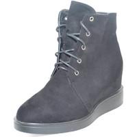 Scarpe Donna Sneakers alte Malu Shoes Sneaker alta stringata in camoscio nero con para interna e fondo NERO