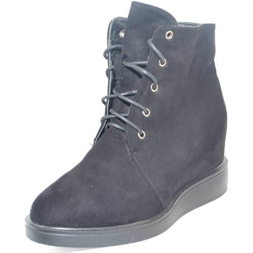 Malu Shoes Sneaker alta stringata in camoscio nero con para interna e fondo NERO - Scarpe Sneakers alte Donna 25,00