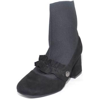 Scarpe Donna Stivaletti Malu Shoes scarpe donna tronchetto calzino moda slip on con mocassino base NERO