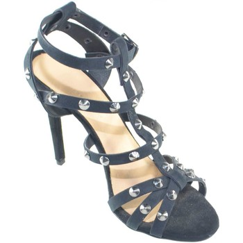 Scarpe Donna Sandali Made In Italia sandali tacco nero camoscio art.st77890 con borchie tacco a spi NERO