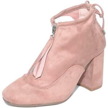 Scarpe Donna Tronchetti Malu Shoes Tronchetti donna camoscio rosa basso caviglia scollata con zip e ROSA
