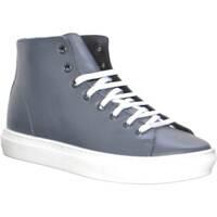 Scarpe Uomo Sneakers alte Malu Shoes Sneakers alta uomo grigio in vera pelle made in italy fondo bian GRIGIO