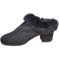 Scarpe Donna Zoccoli Malu Shoes Tronchetto donna art.665 nero con pelliccia sintetica fondo ant NERO