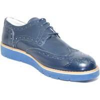 Scarpe Uomo Derby Made In Italia scarpe uomo cerimonia stringate blu vera pelle  mo BLU