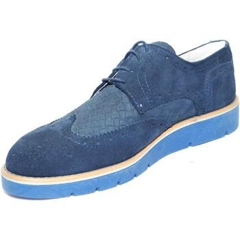 Scarpe Uomo Derby Made In Italy Scarpe uomo stringate  vera pelle scamosciato blu fondo antisciv BLU