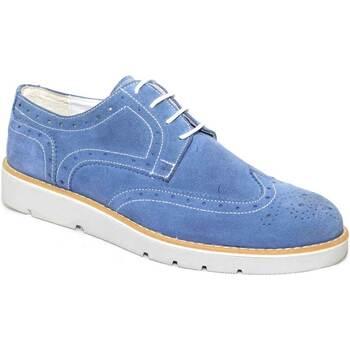 Scarpe Uomo Derby Made In Italia scarpe uomo stringate vera pelle scamosciato jeans made in ital BLU