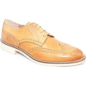 Scarpe Uomo Derby Made In Italy scarpa uomo man stringata vera pelle cuoio  moda classico sporti CUOIO