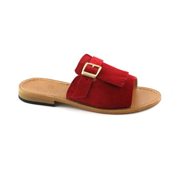 Scarpe Donna Ciabatte Antichi Romani 845 rosso ciabatta sandali donna frangia fibbia camoscio made i Rosso