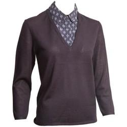 Abbigliamento Donna Maglioni Tory Burch MAGLIA BLU CON FINTA CAMICIA Blue
