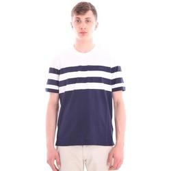Abbigliamento Uomo T-shirt maniche corte Z Zegna T-SHIRT IN COTONE RIGATA BLU E BIANCA Blue