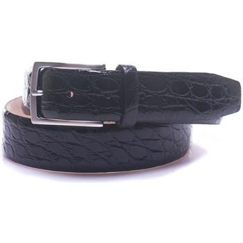 Accessori Uomo Cinture Minoronzoni 1953 Cintura in coccodrillo Nero Coccodrillo Uomo nero