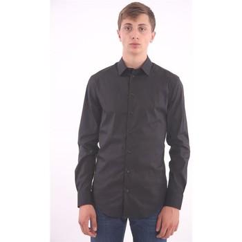 Abbigliamento Uomo Camicie maniche lunghe Armani CAMICIA IN COTONE NERO Black
