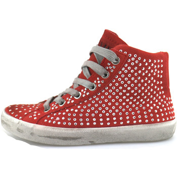 Scarpe Bambina Sneakers alte Crime London sneakers rosso camoscio strass AH982 Rosso