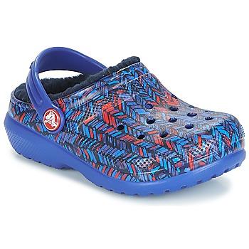 Scarpe Unisex bambino Zoccoli Crocs CLASSIC LINED GRAPHIC CLOG K Blu
