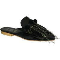 Scarpe Donna Zoccoli Gia Couture Ciabatte donna in pelle tessuto nero