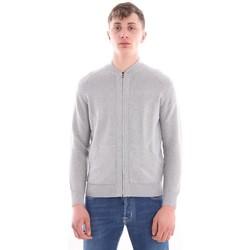 Abbigliamento Uomo Gilet / Cardigan H953 CARDIGAN  GRIGIO MODELLO FELPA BASEBALL Grey