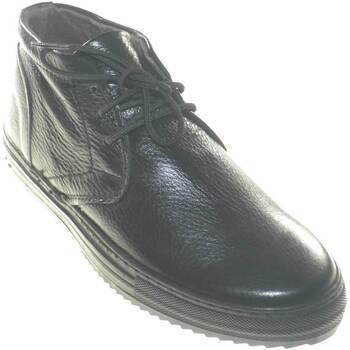Scarpe Uomo Stivaletti Made In Italy scarpe uomo polacchini nero in vera pelle di vitello  moda basic NERO