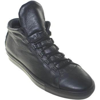 Scarpe Uomo Sneakers basse Made In Italia Scarpe uomo sneakers bassa con linguetta alta moda linea sport NERO