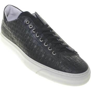 Scarpe Uomo Sneakers basse Made In Italy scarpe uomo sneakers bulldog in vera pelle intrecciato fondo bia NERO