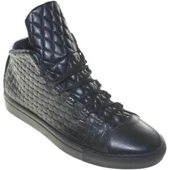 Scarpe Uomo Sneakers basse Made In Italia Scarpe uomo sneakers bassa man vera pelle intreccio nero e trap NERO