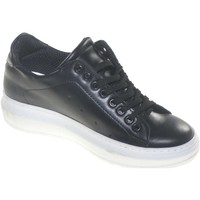 Scarpe Donna Sneakers basse Made In Italia Sneakers bassa donna in vera pelle fondo alto bianco queen comf NERO
