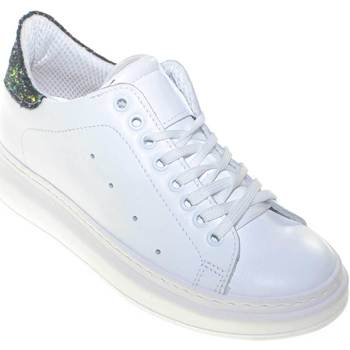 Scarpe Donna Sneakers basse Made In Italy Sneakers bassa bianca donna in vera pelle con fortino glitter bl BIANCO