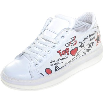 Scarpe Donna Sneakers basse Malu Shoes Sneakers bassa bianca donna in vera pelle stampata disegni fond BIANCO