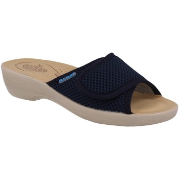 Scarpe Donna Pantofole Fly Flot T5B19 FE BLU CIABATTE DONNA MADE IN ITALY TOMAIA IN TESSUTO CON BLU