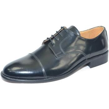 Scarpe Uomo Richelieu Made In Italia Scarpe uomo stringate classiche con mezza punta suola di vero c NERO