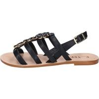 Scarpe Donna Sandali E...vee sandali nero pelle BY184 Nero