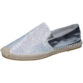 Scarpe Donna Mocassini Sara Lopez scarpe donna  espadrillas argento tessuto strass BY241 Argento