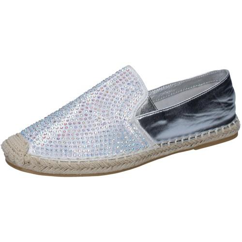Sara Lopez scarpe donna espadrillas argento tessuto strass BY241 Argento - Scarpe Mocassini Donna 24,00