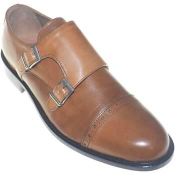 Scarpe Uomo Classiche basse Made In Italy scarpe uomo eleganti doppia fibbia moda classica giovanile vera CUOIO