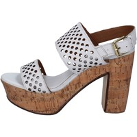 Scarpe Donna Sandali Shocks sandali bianco pelle BY394 Bianco