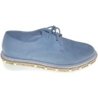 Scarpe Donna Derby Malu Shoes Francesina donna stringata con suola in gomma micro e borchie la BLU